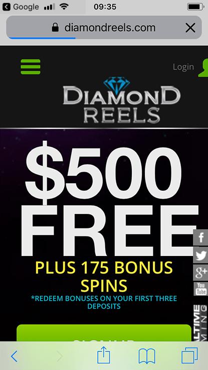 Diamond Reels Casino 2020 50 Welcome Spins Bonus On Paydirt