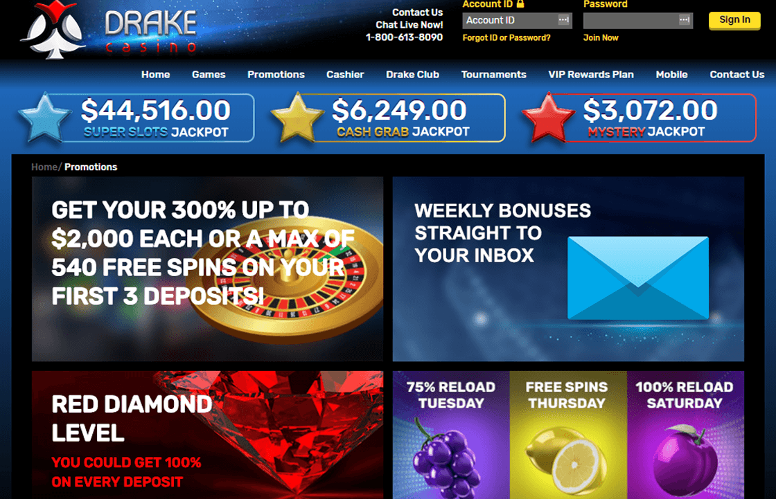 Drake Casino 2020 60 Free Spins Bonus On The Angler Tigers