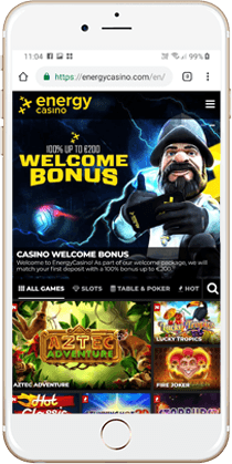Energy Casino Mobile Lobby