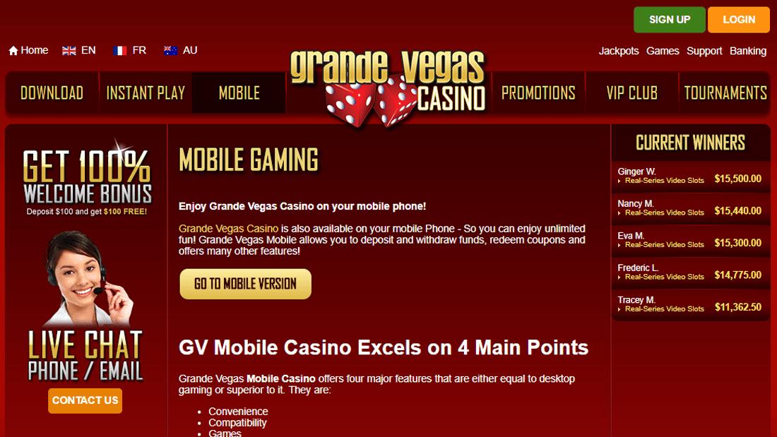 Grande Vegas Casino $100 No Deposit Bonus Codes 2021