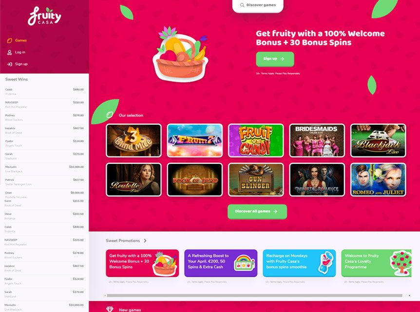 Fruity Casa Casino Bonuses