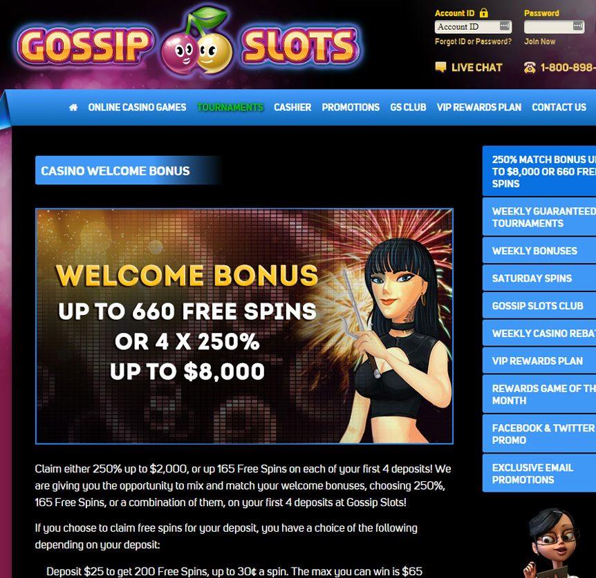Gossip Slots Casino 2020 30 Free Spins Bonus On Slots With