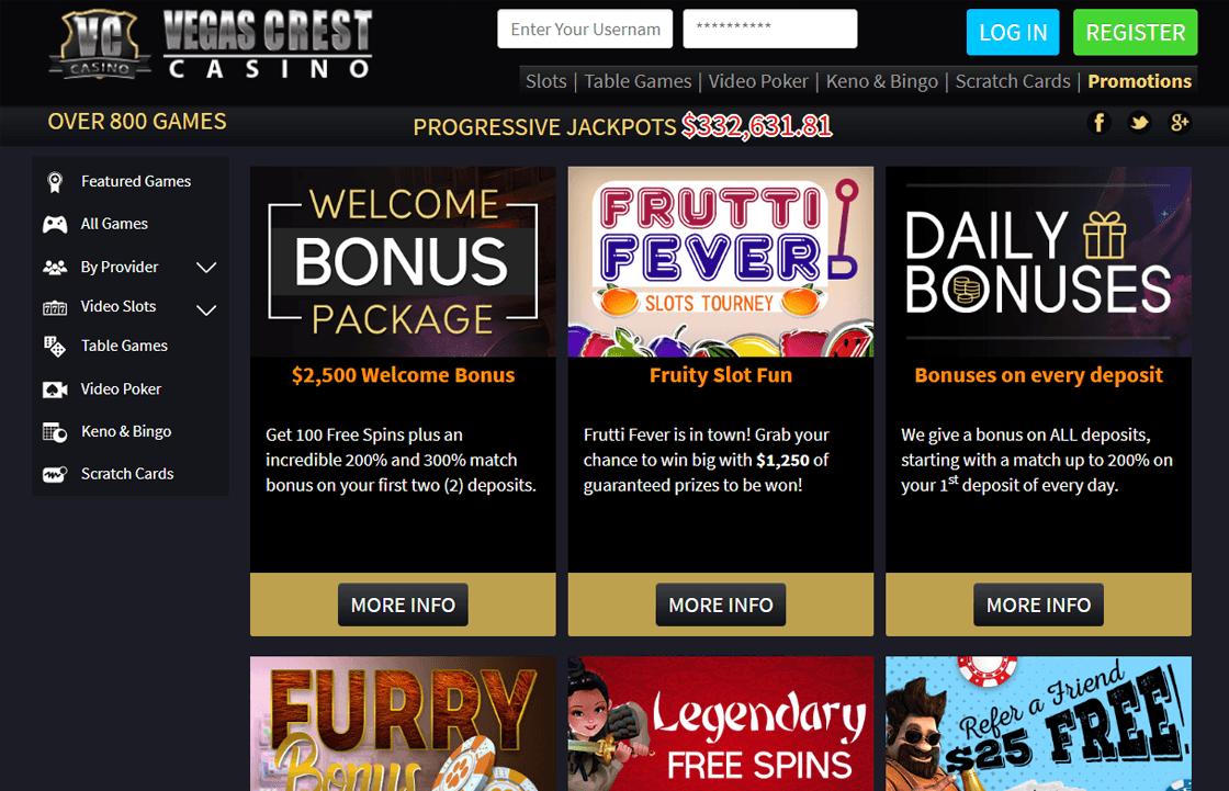 Vegas Crest Bonus Codes 2021